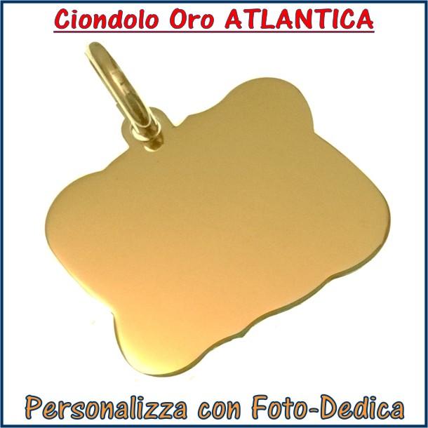 ciondolo oro rettangolo atlantica fotoincisione inciso personalizzato personalizzazione