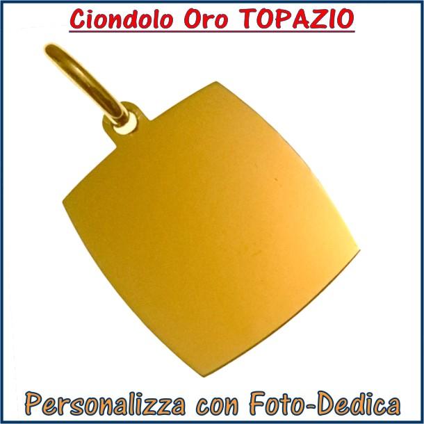 ciondolo oro rettangolo topazio fotoincisione inciso personalizzato personalizzazione