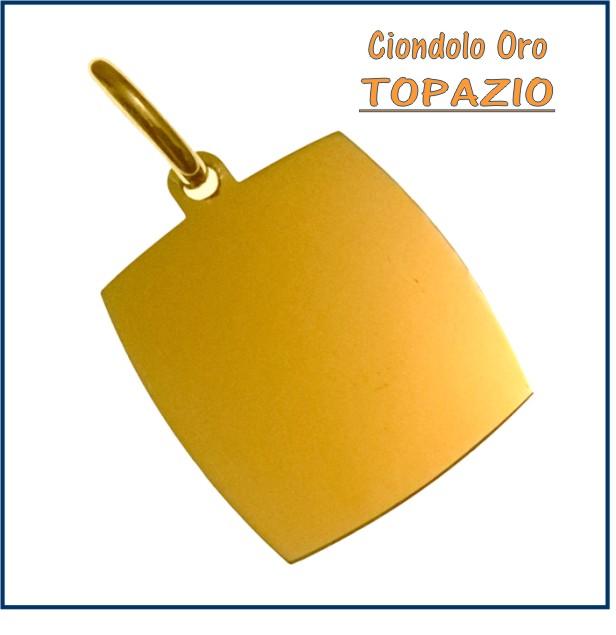 ciondolo medaglia oro personalizzato inciso rettangolo topazio fotoincisione