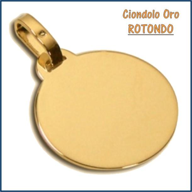ciondolo medaglia oro personalizzato inciso rotondo fotoincisione