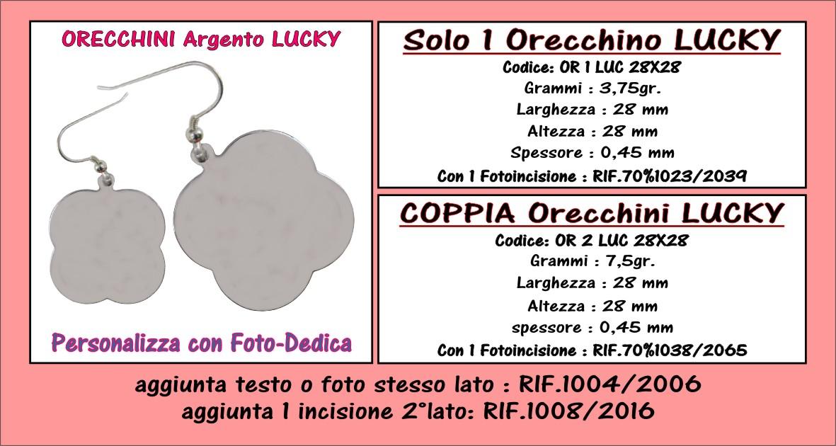 descrizione fotoincisione orecchini argento lucky