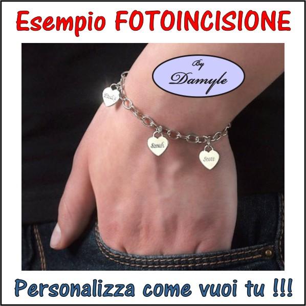 fotoincisione ciondolo, incisione charm, pendente, medaglia, bracciale, collana, anello, orecchini, personalizzare, incidere, acciaio, argento, oro