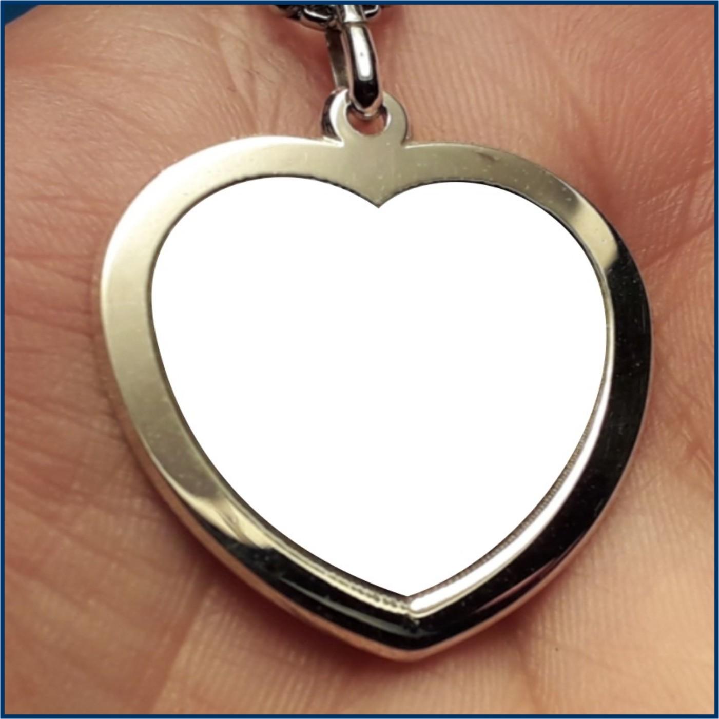 ciondolo,cuore medaglia,pendente foto a colori antigraffio incisa