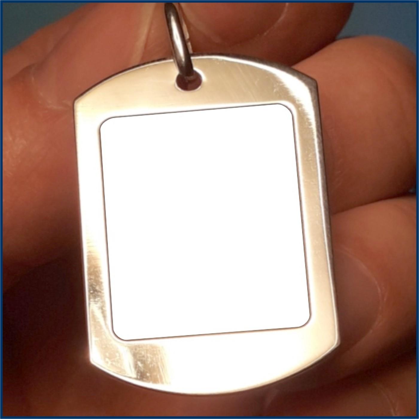ciondolo,medaglia,placchetta militare pendente foto a colori antigraffio incisa