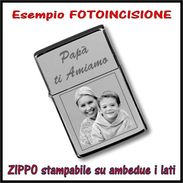 esempio fotoincisione su zippo