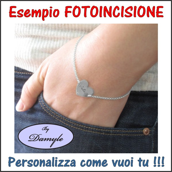fotoincisione ciondolo, charm, pendente, medaglia, bracciale, collana, anello, orecchini, personalizzare, incidere