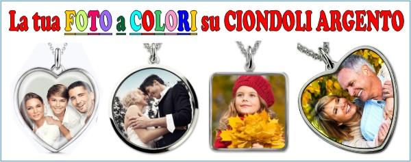 la tua foto-dedica a colori su ciondoli argento sublimazione fotoincisione