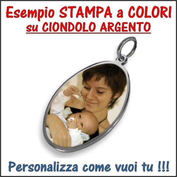 stampa personalizzata a colori su ciondolo,medaglia,pendente,bijou argento e incisione, personalizzazione foto